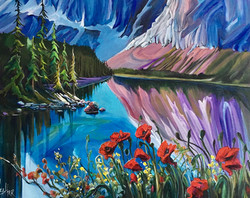 Poppies at Cavell 24 x 30 SOLD