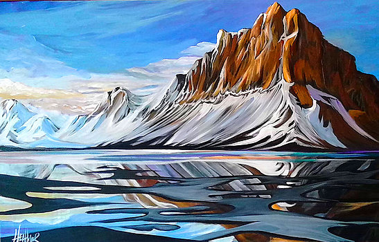 Bow Lake Reflections 24 x 36 SOLD