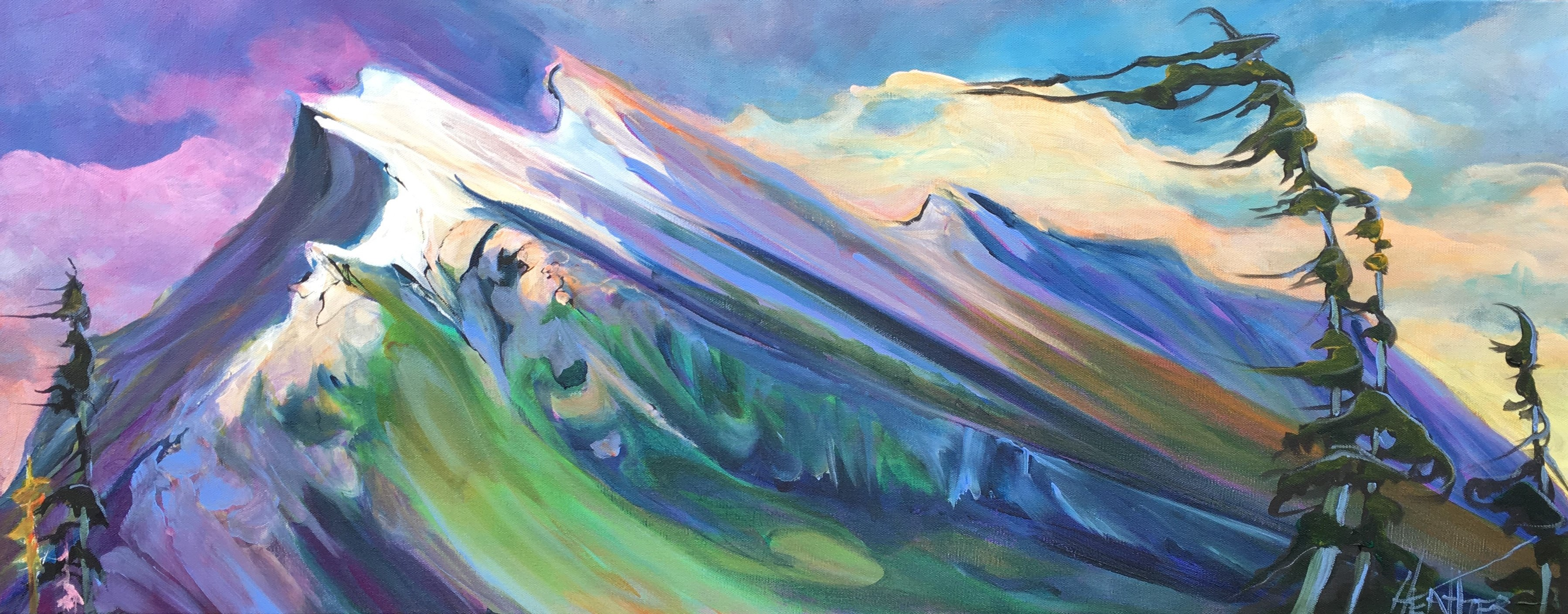 Dusk at Mount Rundle 16 x 40 SOLD
