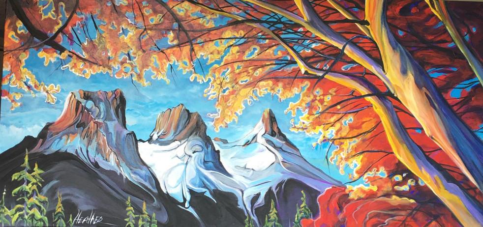 Three Sisters Sunburst 24 x 48 $3100