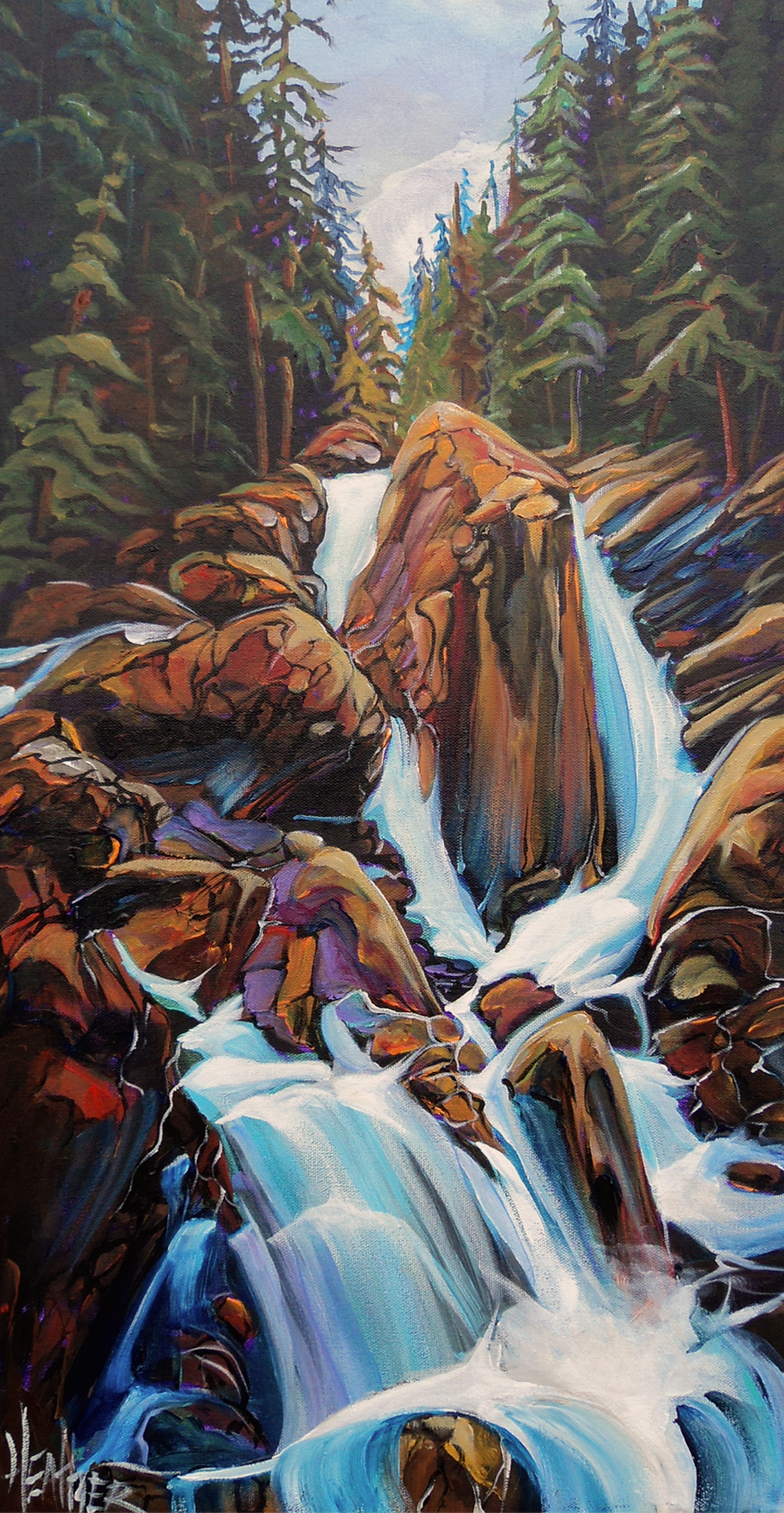 Sicamous Creek Falls 15 x 30 SOLD