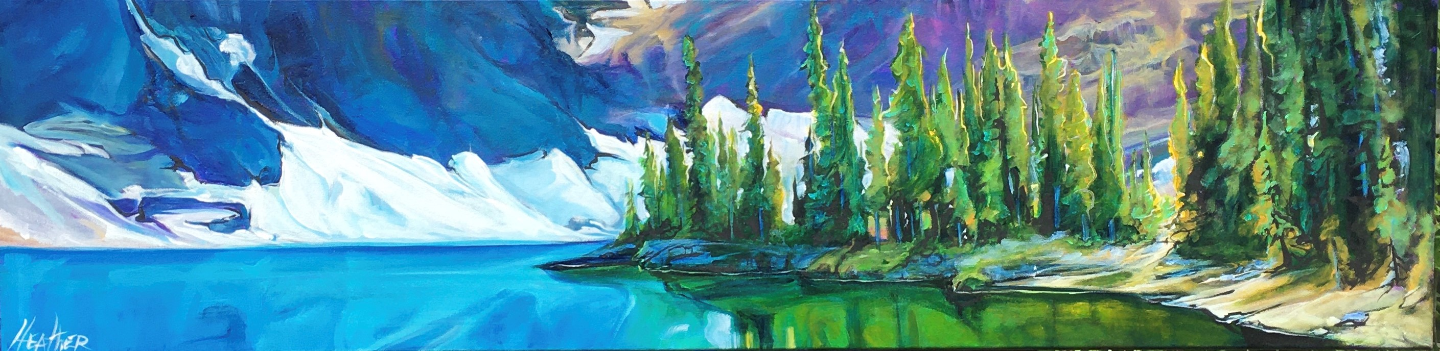 Floe Lake 12 x 48 Acrylics on Canvas SOLD