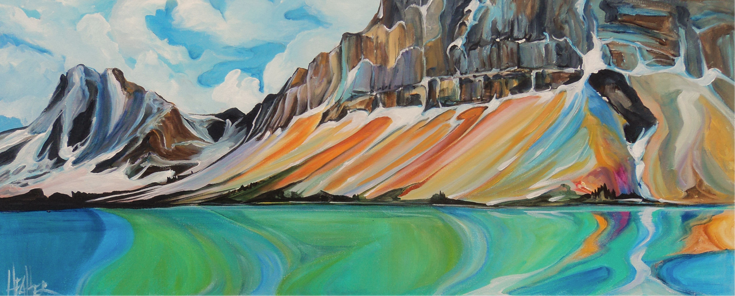 Bow Lake Spring Melt 16 X 40 SOLD