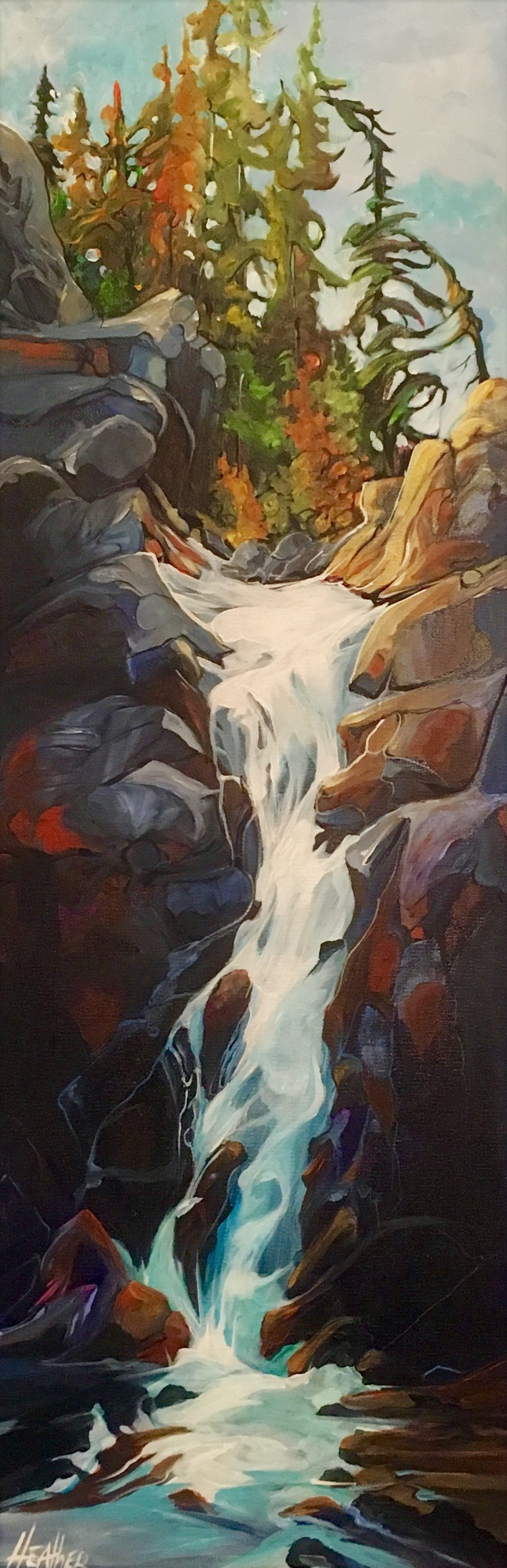 Falling for Water 12 x 36 SOLD