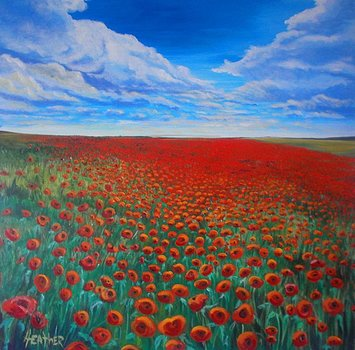 Poppies 36 x 36 SOLD