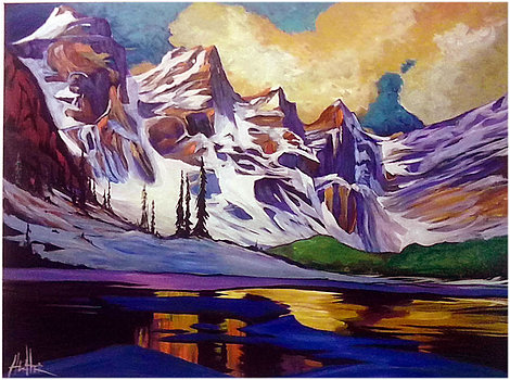 Moraine Lake Dusk Study 36x48 SOLD