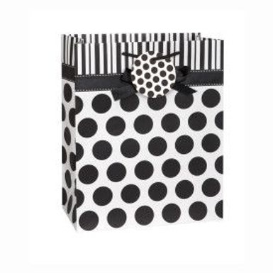 Bag Gift Dots/Bow Black/White