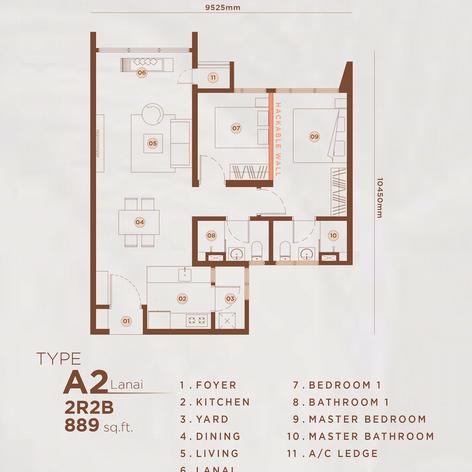 Type A2 - 889 sq.ft. (Lanai)