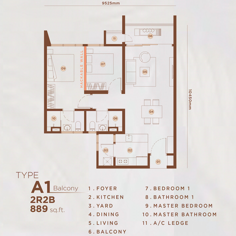 Type A1 - 889 sq.ft. (Balcony)