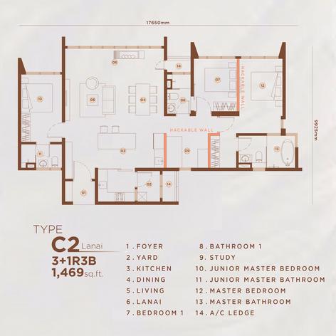 Type C2 - 1,469 sq.ft. (Lanai)