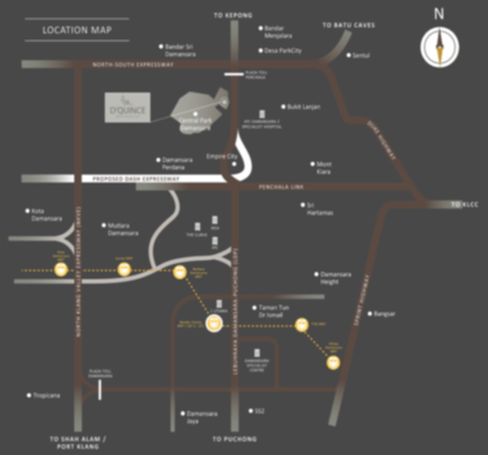 Location Map of D'Quince Residences @ Central Park, Damansara
