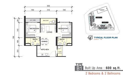 Unit Layout / Floor Plan of Sunsuri Residences @ Bayan Lepas, Penang