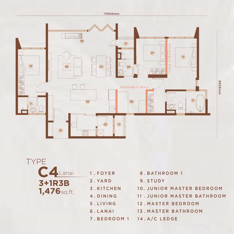 Type C4 - 1,469 sq.ft. (Lanai)