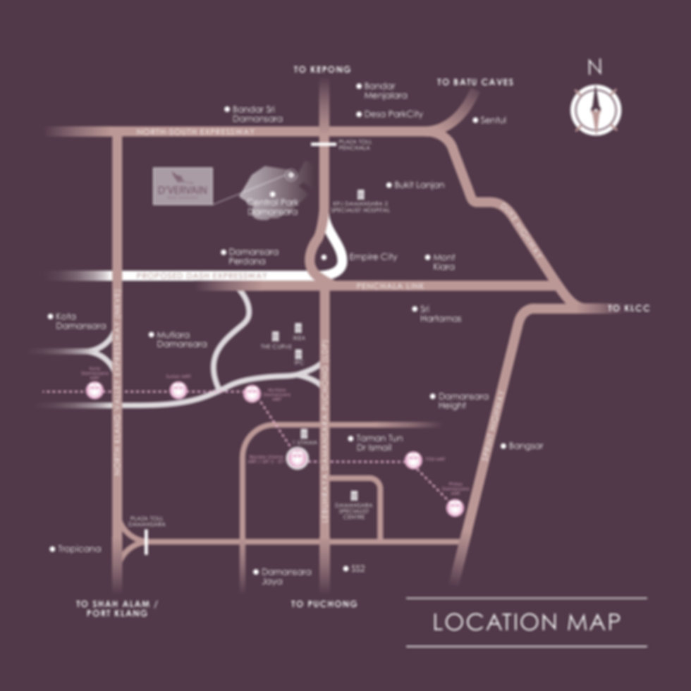 Location Map of D'Vervain Residences @ Central Park, Damansara