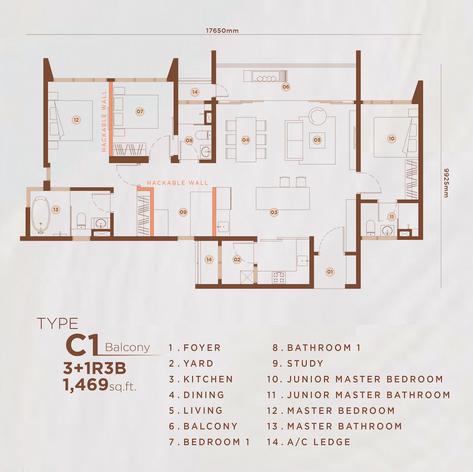 Type C1 - 1,469 sq.ft. (Balcony)