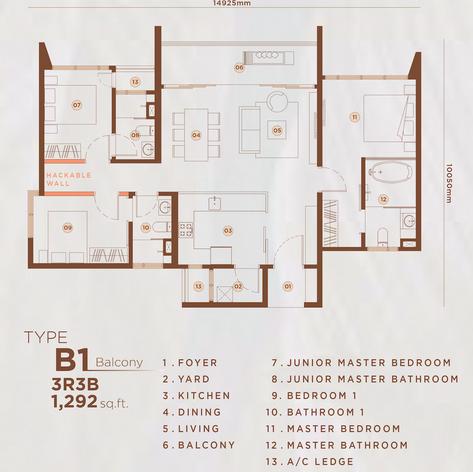 Type B1 - 1,292 sq.ft. (Balcony)