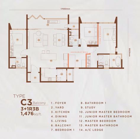 Type C3 - 1,469 sq.ft. (Balcony)