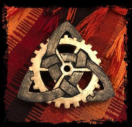 Clockwork Knotwork Logo Pin