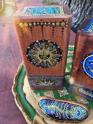 Sun - Handpainted Wooden Cigar Box