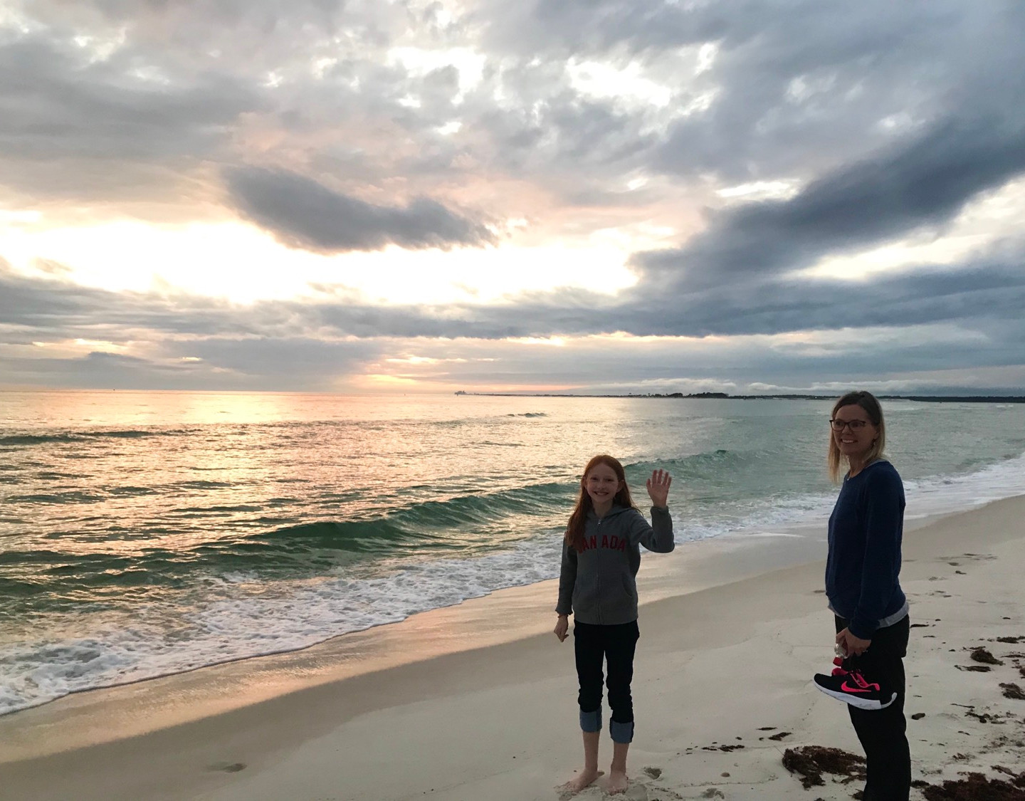 Sunset on the Gulf of Mexico side. We saw a group of dolphins playing just off shore.