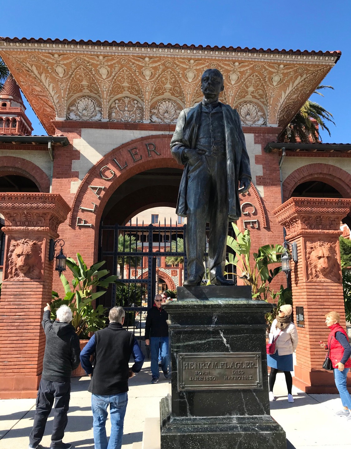 Statue of Henry Flagler in front of college