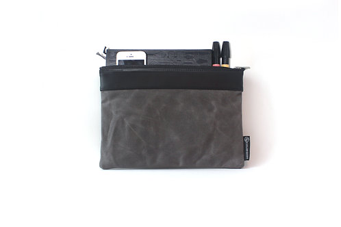 Waxed Canvas Medium Portfolio Bag - Grey