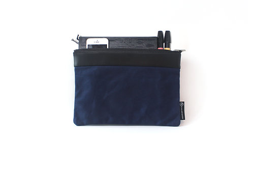 Waxed Canvas M. Portfolio Bag - Han Blue