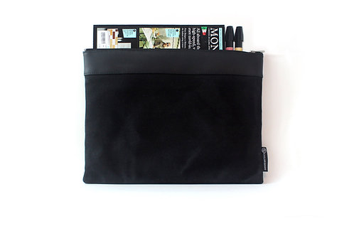 Waxed Canvas L. Portfolio Bag - Black