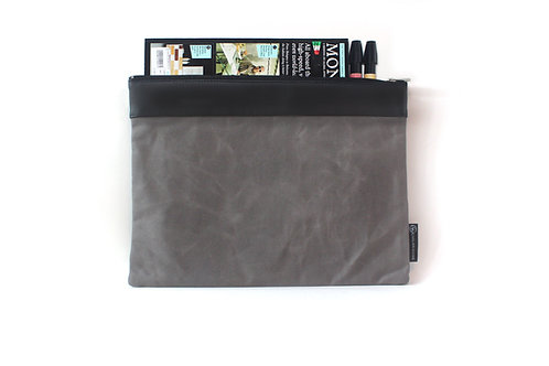 Waxed Canvas L. Portfolio Bag- Grey