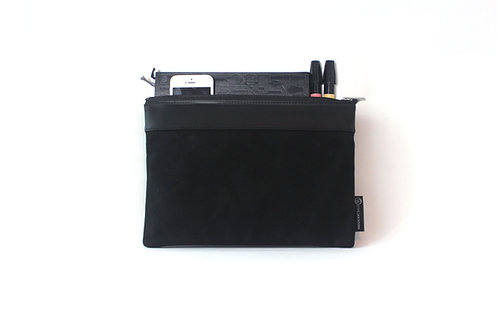 Waxed Canvas Medium Portfolio Bag - Black