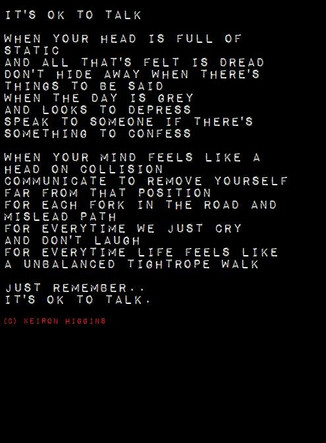 Its okay to Talk poem by Keiron Higgins