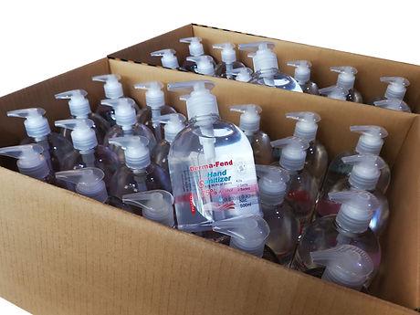 boxes of hand sanitiser