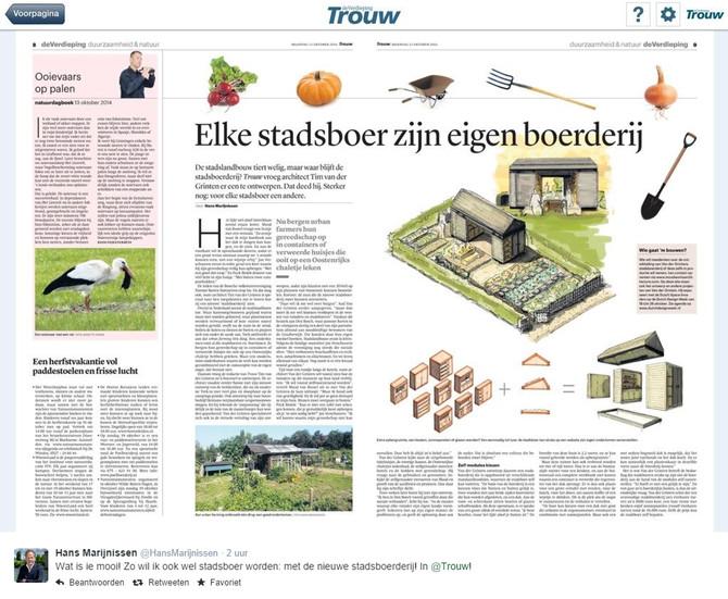 Presentatie ontwerpconcept stadsboerderij vandaag in Trouw!