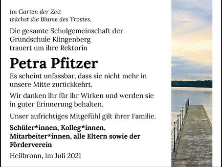 Nachruf für unsere Rektorin Petra Pfitzer
