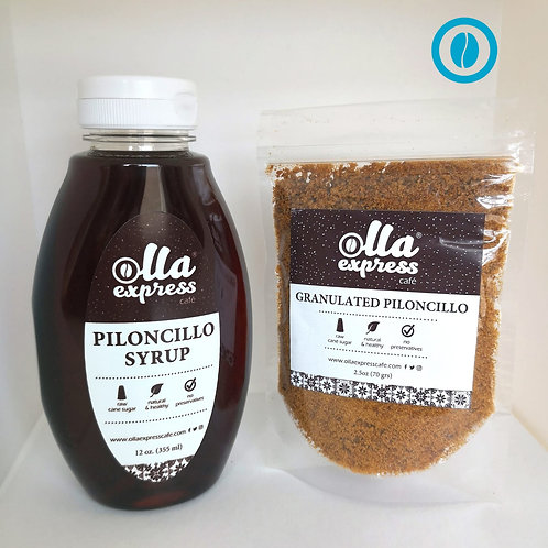 Piloncillo syrup and granulated