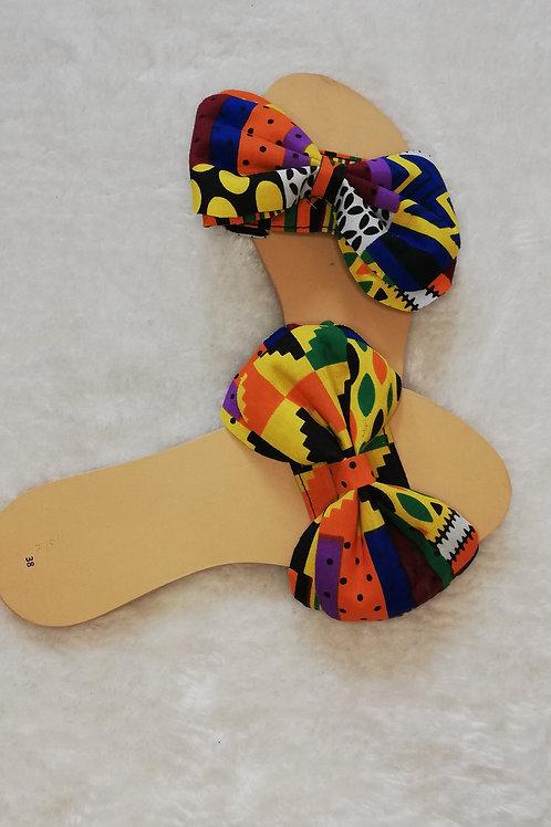 Womens  sandal - slider with Ankara Bow Detail