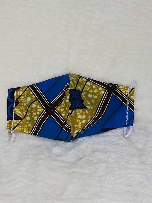 blue/yellow reusable African print mask