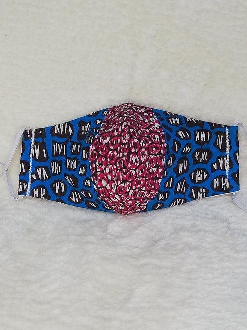 bleu/pink reusable African print mask