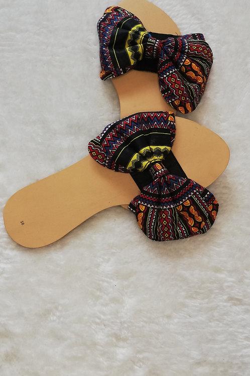 Women's sandal  - slider with Ankara bow detail