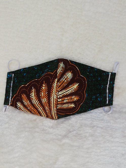 Black/gold reusable African print mask