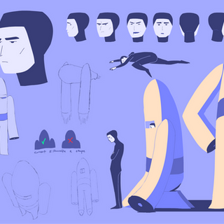 Further developed character sheet for project, 2019