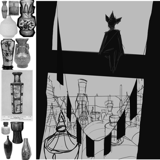PROCESS: Moodboard & Initial sketch for composition, 2020.