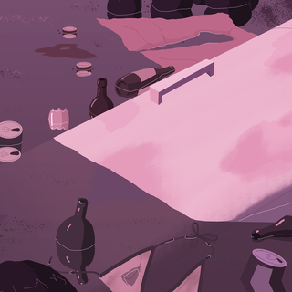 Background art for camera pan shot from project. Made in Photoshop, 2019.
