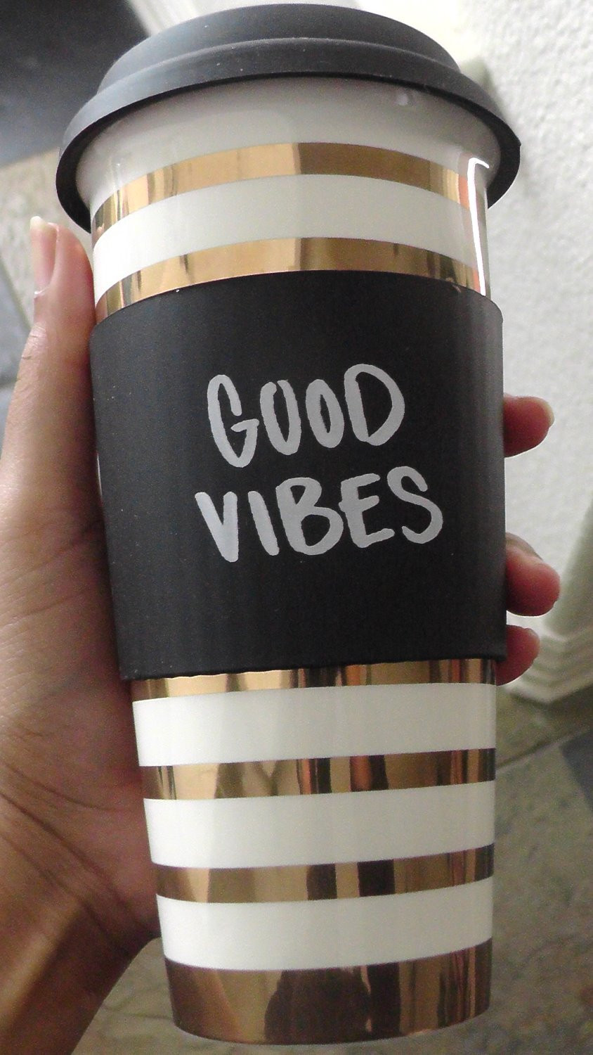 Good Vibes Travel Mug, $7.99