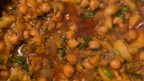 My mother's chickpeas, courgettes and potatoes by Shai Ayoub