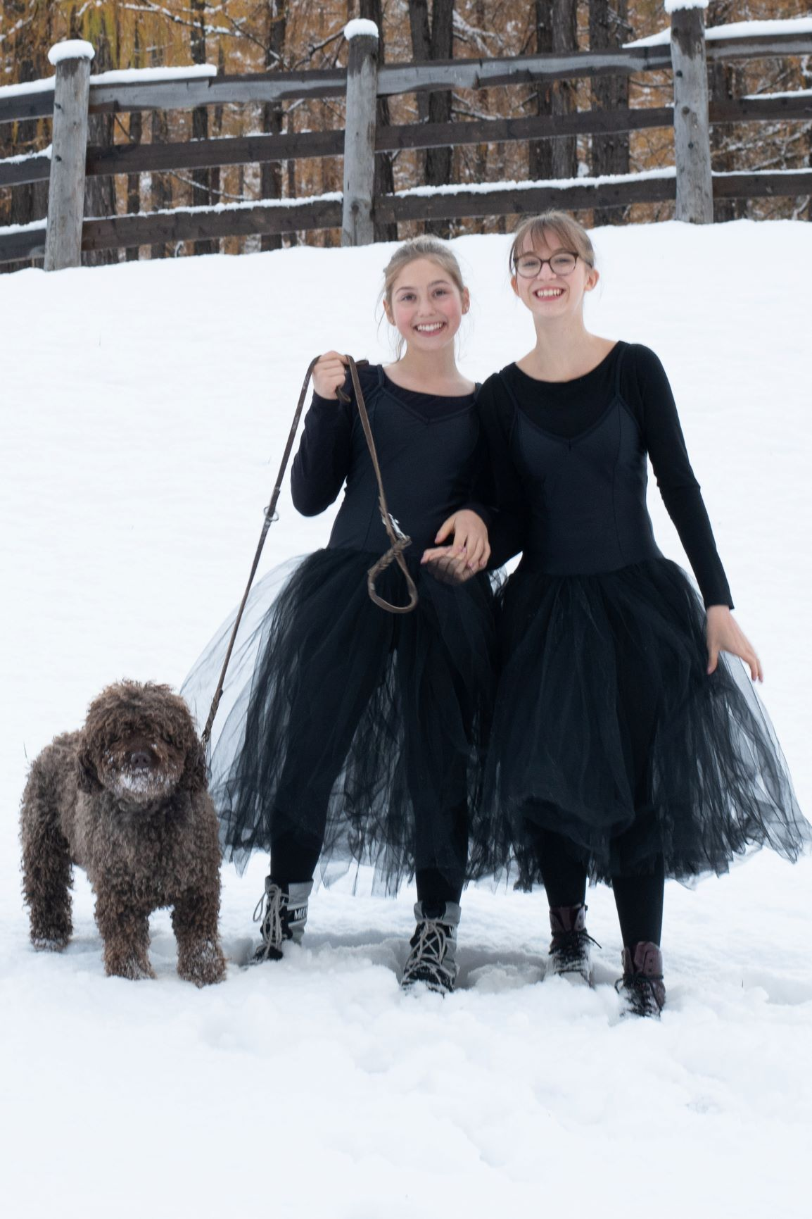 Ballerinas in Snow with Dog - Photo © Daniela Brugger
