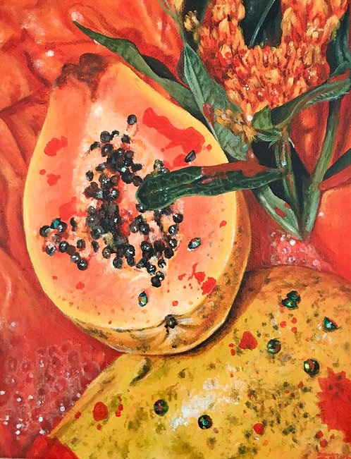 'Triptych (Papaya)' Original Painting