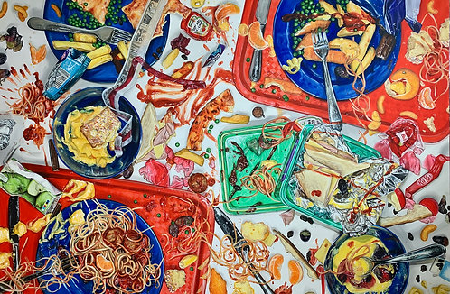 'Food Fight!' Original Painting