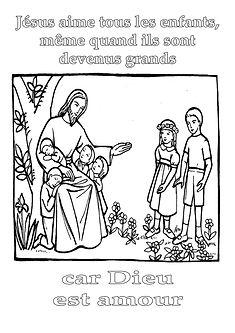 coloriage jesus aime les enfants