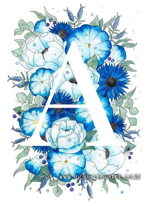 Letter Florals - Blue